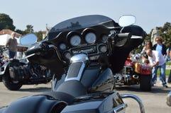 Czarny Harley Davidson motocykl w Padova Obraz Stock