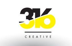316 Czarny i Żółty Numerowy loga projekt Zdjęcia Stock