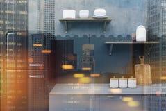 Czarny i betonowy kuchni zakończenie up tonujący Zdjęcie Stock