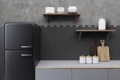 Czarny i betonowy kuchni zakończenie up Zdjęcie Royalty Free