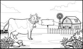 Czarny i biały kolorystyki strony krowa w rancho ilustracja wektor