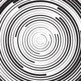 Czarny i biały koncentryczny kreskowy okręgu tło, efekt lawinowy lub royalty ilustracja
