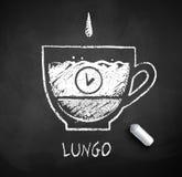 Czarny i biały nakreślenie lungo ncoffee ilustracja wektor