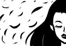 Czarny i biały wizerunek jest kobietą z długim czarni włosy ilustracji