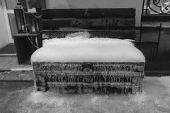 Czarny i biały ławka zakrywająca z lodem i śniegiem obraz royalty free