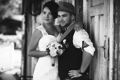 Czarny i biały ślub Fotografia Stock
