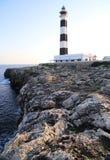 Czarny i biały śródziemnomorska latarnia morska Obrazy Royalty Free