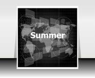Czarny i biały abstrakcjonistyczny cyfrowy dotyka ekran z lata słowem, abstrakcjonistyczny tło Zdjęcia Stock