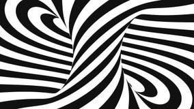 Czarny i biały abstrakt spirali tła animacja, 3D rendering royalty ilustracja