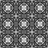 Czarny i biały arabski geometryczny bezszwowy wzór, wektor royalty ilustracja