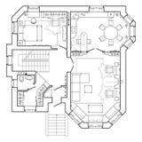Czarny I Biały architektoniczny plan dom Układ mieszkanie z meble w rysunkowym widoku ilustracji