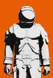 Czarny i biały astronauty astronautyczny kostium ilustracja wektor