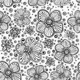 Czarny i biały atrament malujący wektorów kwiaty Fotografia Royalty Free