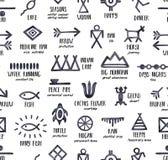 Czarny i biały bezszwowy powtarzalny wzór z rodowitych amerykan symbolami i ich znaczeniami ilustracji