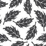 Czarny i biały bezszwowy wzór z liśćmi klonowymi ilustracja wektor