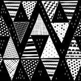 Czarny i biały bezszwowy wzór z pociągany ręcznie decorati ilustracja wektor
