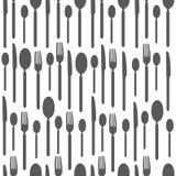 Czarny i biały bezszwowy wzór z sylwetkami cutlery Tapeta z czarny i biały sylwetkami cutlery ilustracja wektor