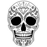 Czarny i biały cukrowa czaszka ilustracji