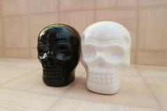 Czarny i biały czaszka: przeciwieństwa Zdjęcie Stock