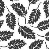 Czarny i biały dębowego liścia bezszwowy wzór ilustracji