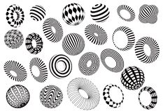 Czarny i biały 3d kształtuje wektoru set Fotografia Stock