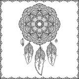 Czarny i biały doodle sen łapacz ilustracja wektor
