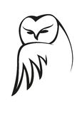 Czarny i biały doodle sowy nakreślenie Zdjęcia Royalty Free