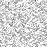 Czarny i biały doodle wzór z sercami Fotografia Stock