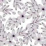 Czarny i biały eleganccy liście bezszwowy wzór, kwiaty i jagody, wektor ilustracja wektor