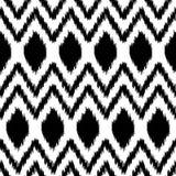 Czarny i biały etnicznego ikat abstrakcjonistyczny geometryczny wzór, wektor Obrazy Stock
