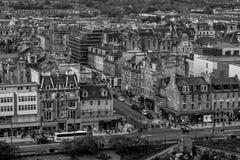 Czarny i biały fotografia Edynburg śródmieście, Szkocja obrazy royalty free