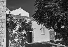 Czarny i biały fotografia kościół Elkomenos Christos przy Monemvasia Grecja fotografia royalty free