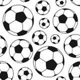 Czarny I Biały Futbolowy Balowy Bezszwowy royalty ilustracja