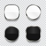 Czarny i biały glansowani guziki odizolowywający na przejrzystym tle ilustracja wektor