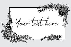 Czarny i biały grafika jagody, liście i lokalizują przy kątami rama Zdjęcie Royalty Free