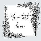 Czarny i biały grafika kwiaty, liście i jagody, lokalizują w kątach pole dla inskrypci Zdjęcie Stock