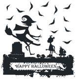 Czarny i biały Halloweenowa ilustracja z dzieckiem i czarownicą Zdjęcia Stock