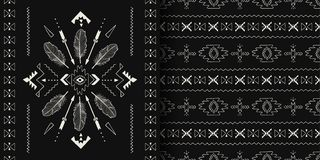 Czarny i biały handmade aztek, Boho bezszwowi wzory ilustracji