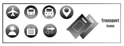Czarny i biały ikony Ikony dla zastosowań Zakupów bilety dla przewieziony onlinego ilustracja wektor