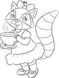 Czarny i biały ilustracja śliczny małej dziewczynki szop pracz pije herbaty, pięknie ubierający, dla dziecko kolorystyki książki ilustracji