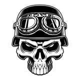 Czarny i biały ilustracja rowerzysta czaszka ilustracji