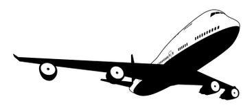 Czarny i biały samolot ilustracji