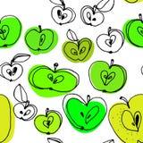 Czarny i biały jabłek bezszwowy wzór z kolorów punktami Zdjęcia Royalty Free