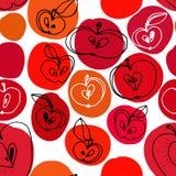 Czarny i biały jabłek bezszwowy wzór z kolorów punktami Fotografia Stock