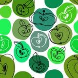 Czarny i biały jabłek bezszwowy wzór z kolorów punktami Obrazy Stock