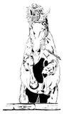 Czarny i biały koński rysunek Obraz Royalty Free