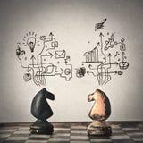 Czarny i biały koński szachy royalty ilustracja