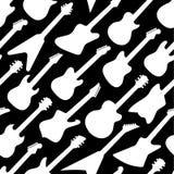 Czarny i biały koloru wzór z różnymi kształt gitarami Fotografia Royalty Free