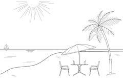 Czarny i biały konturu rysunek pasiasty plażowy parasol i dwa drewnianego krzesła na białym tle, wektorowa ilustracja Zdjęcia Stock