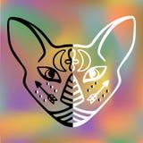 Czarny i biały kot twarzy wektoru Święty zwierzę antycznego Egipt kota twarzy symboli/lów Mistyczna Egipska hieroglificzna ręka r royalty ilustracja
